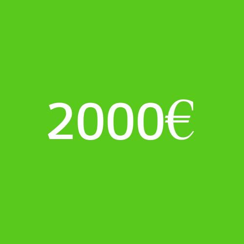 Prepago de servicios por valor de 2000 €